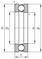 FAG Cuscinetti assiali a sfere 51309, quote principali secondo DIN 711/ISO 104, azione unilaterale, smontabile