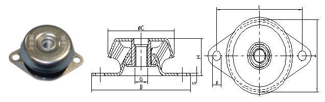 antivibrante a campana per motori diesel 3 cilindri